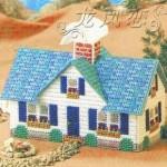Набор для вышивки на пластиковой канве домик с голубой крышей