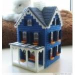 Набор для вышивки на пластиковой канве домик синий