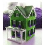 Набор для вышивки на пластиковой канве домик зеленый