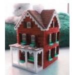 Набор для вышивки на пластиковой канве домик красный