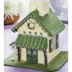 Набор для вышивки на пластиковой канве домик зеленый 2