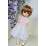 [Для BJD 1/3 / 1/4 / 1/6] Платье розово-белое
