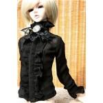 [Для BJD 1/3 / 1/4/ 70 см] Черная блузка (без камеи)